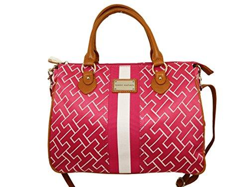 Tommy Hilfiger Shopper Handbag (Pink/White/Tan Big Logo)
