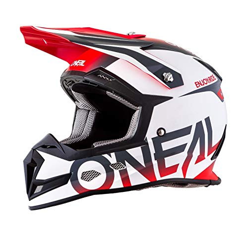 O'Neal Unisex-Adult Off-Road Style 5 SRS Blocker Helmet WHT/GRY/RED XS (White/Grey (Helmet Air Tld)