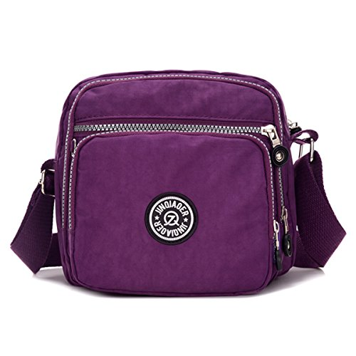 Nylon with Chou Lightweight Crossbody Messenger Waterproof Tiny Bag Shoulder Bag Compact Purple Pockets v6qtxwZ