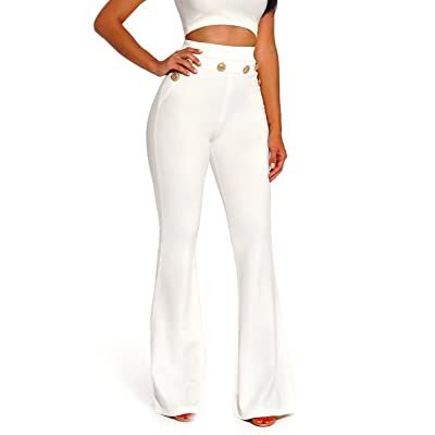 Corala Women Casual Stretchy Button Flare Wide Leg High Waisted Long Pants