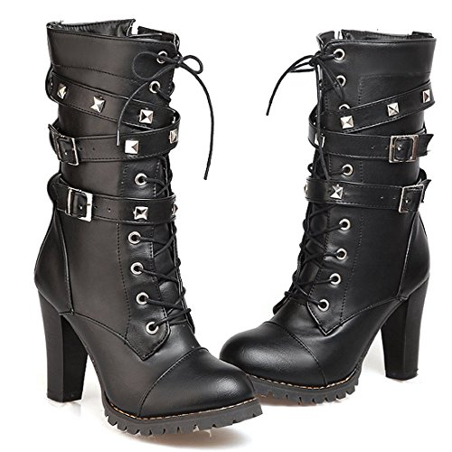 (Susanny Women's Mid Calf Leather Boots Chic High Heel Lace Up Military Buckle Motorcycle Cowboy Black6 Ankle Booties 6.5 B (M) US)