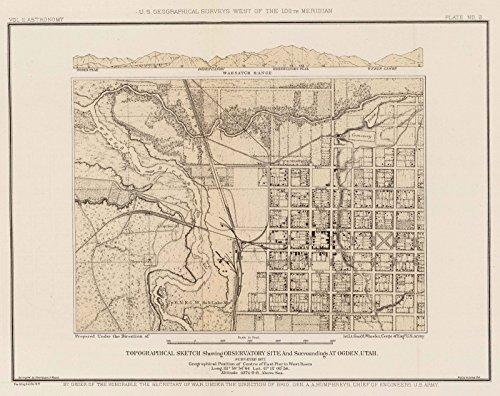 Exploration Book | 1877 Topographical sketch, observatory site, Ogden, Utah. | Historic Antique Vintage Map Reprint (Utah Antique)