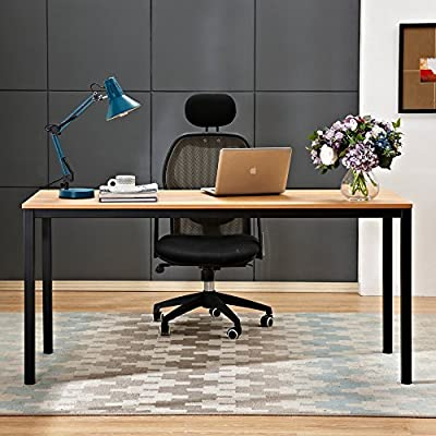 """Need Computer Desk 63 inches Large Size Desk Gaming Desk Writing Desk with BIFMA Certification Workstation Office Desk,Teak Black AC3BB-160 - 【★★NOTE★★】If your item arrives damaged, scratched or has missing parts, please feel free to contact us. We will send you a free replacement or offer a partial refund. 【Large Size】Overall Size: L63"""" x W23.7"""" x H29.5"""", large desk provides ample space for working, i.e. computers, printers and other devices. 【Firm Material】Panel is made of environmental E1 standard wood, it's waterproof and has an anti-scratch surface; easy to clean. - writing-desks, living-room-furniture, living-room - 51T7eY1NmQL. SS400  -"""