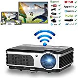 WiFi Projector Portable 2600 Lumens Home Theater 1080p HD HDMI USB VGA AV, Video Projector Android for Game Movie Party TV Compatible with iPhone Phone ipad PC Outdoor Indoor