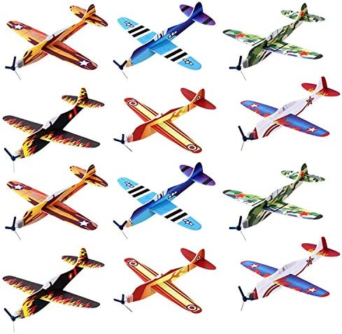 Kicko Flying Glider Planes - Toys for Party Kids and All Ages - Hand Launch - Easy Assembly - Styrofoam Assorted 8 Inch - Set of 12