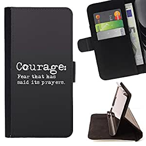 BullDog Case - FOR/HTC DESIRE 816 / - / COURAGE: FEAR THAT HAS SAID ITS PRAYERS /- Monedero de cuero de la PU Llevar cubierta de la caja con el ID Credit Card Slots Flip funda de cuer