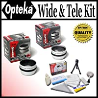 Opteka 0.5x Wide Angle and 2x Telephoto HD2 Lens Set for Hitachi DZ-BX35, BX37, GX3100, GX3200, GX3300, HS303, HS403, HS503, MV100, MV1000, MV200, MV208, MV230, MV238, MV270, MV380, MV550 and DZ-MV580 Digital Video Cameras