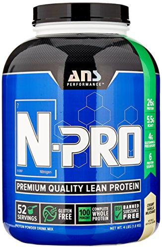 ANS Performance N-Pro, Premium Quality Banned Substance Free Lean Protein, Creamy Vanilla Milkshake, 4 Pound/ 52 Servings