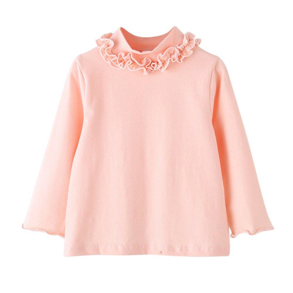 BAOBAOLAI Baby Girls Shirt Long Sleeve T-Shirt Cotton Lace Turtlenecks Princess Toddler Solid Tops Blouse(0-7Y)