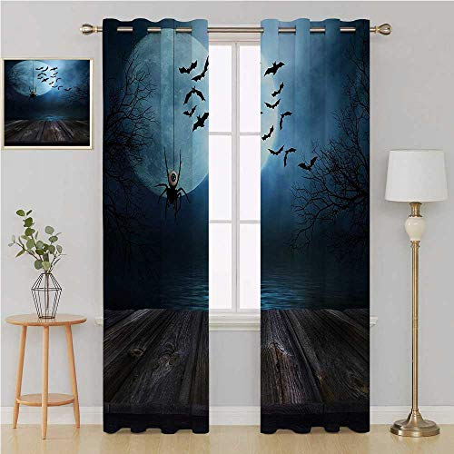 Benmo House Halloween Gromet Curtain Thermal Insulated Blackout Curtains,Misty Lake Scene Rusty Wooden Deck Spider Eyeball and Bats with Ominous Skyline soundproof Curtain 108 by 108 Inch Blue Brown