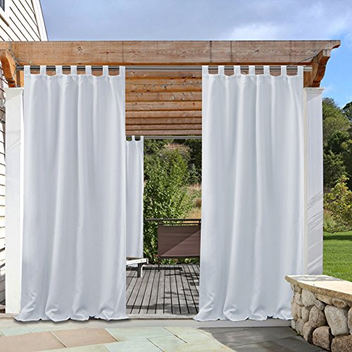 Greyish White Patio Outdoor Curtain - PONY DANCE Tab Top Energy Saving Light Blocking Curtains Drapes UV Protection Garden Shade, 52 Wide by 108-inch Long, 1 Piece (Drapes Outside Patios)