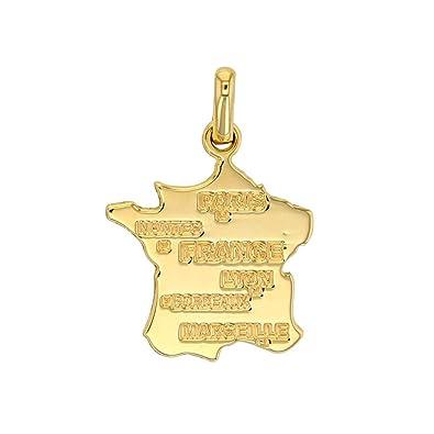 Jouailla - Colgante tarjeta de Francia en oro 375/1000 con ...