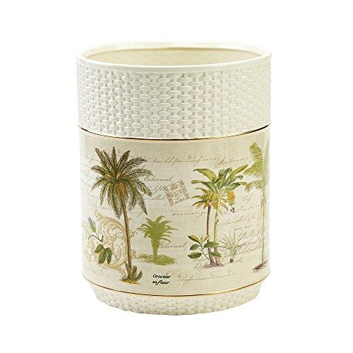 Ivory Wastebasket (Avanti Linens 13668FIVR Colony Palm Waste Basket, Medium, Ivory)
