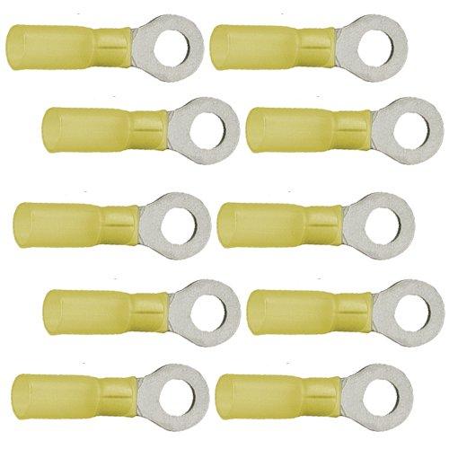 10 Ringkabelschuhe M6 6, 4mm gelb mit Schrumpfschlauch 4, 0 bis 6, 0 mm² K24 - Kabelschuh