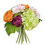 Floristrywarehouse Artificial Silk Flower Rose & Gyp Bunch 24 Stems of Cream/White Roses 21 inches
