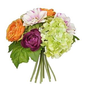 House of Silk Flowers Artificial 10-inch Orange/Purple/Green Hydrangea/Rose/Dahlia Bouquet 70