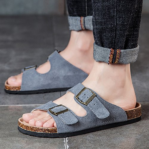 Pantoufles dété hommes pantoufles en liège antidérapant Waichuan chaussures de plage respirant ( Couleur : 8 , taille : EU39/UK6.5/CN40 )