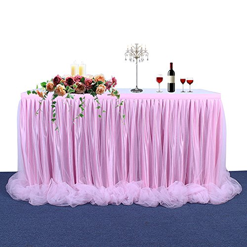 Haperlare 9ft Tablecloth Pink Tulle Table Skirt Pink Tablecloth Skirting Tutu Tablecloth with Long Tulle for Wedding Party Baby Shower Christmas Birthday Banquet Table Decorations by Haperlare