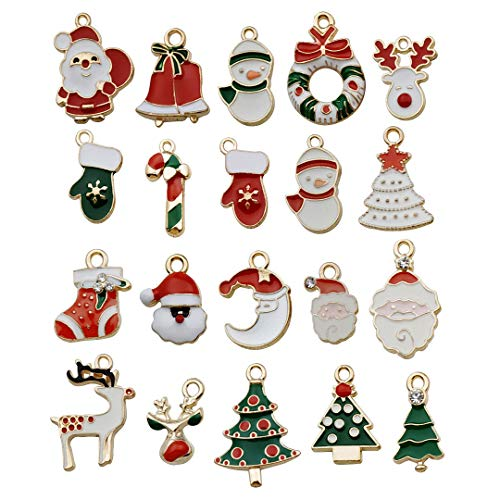 (iloveDIYbeads 40pcs Assorted Gold Plated Christmas Enamel Charm Pendant for DIY Jewelry Making Necklace Bracelet Earring DIY Jewelry Accessories Charms M45)