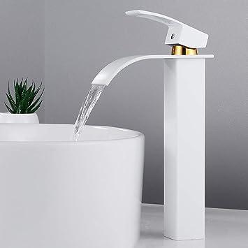 Robinet Mitigeur Cascade lavabo vasque haut Bec Robinetterie Cuisine  Monocommande Carré Chromé Trou Simple Levier Moderne pour salle bain eau  froide ...