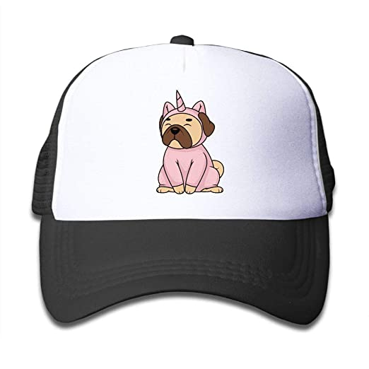 Amazon.com  Pug Dog in Unicorn Costume On Kids Trucker Hat af56b8c58f8