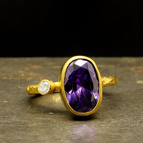 Amethyst Color Faceted Purple Cubic Zirconia Ring 925 Sterling Silver 24K Yellow Gold Vermeil Handcrafted Hammered Handmade Artisan Ring