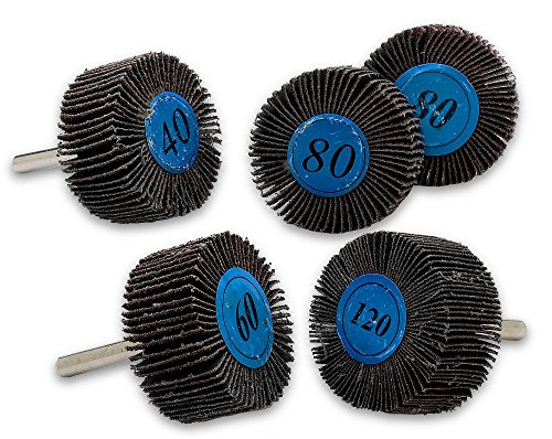 5 Pieces 2X 1 Flap Wheels Set  4 Different Sanding Sizes  1/4 Shank Fits All Drills-40 60 80 And 120 Grits By Katzco
