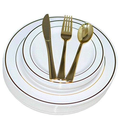 200 Piece Heavyweight Party Disposable Plastic Plates and Cutlery Set Includes 40 Dinner Plates 40 Dessert Plates and 40 Pieces of Glossy Silver Plastic Forks Knives and Spoons (Gold)