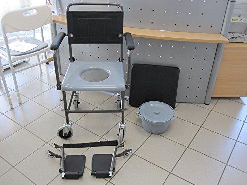 Fahrbarer Toilettenstuhl / Duschstuhl / Nachtstuhl auf Rollen NEU für die professionelle Pflege