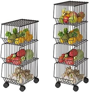 Mocosy Cesta de Alambre de Metal con Ruedas y Tapa contenedor Organizador de Almacenamiento para Cocina Estante de Utilidad apilable de 4 Niveles para Cesta de Frutas