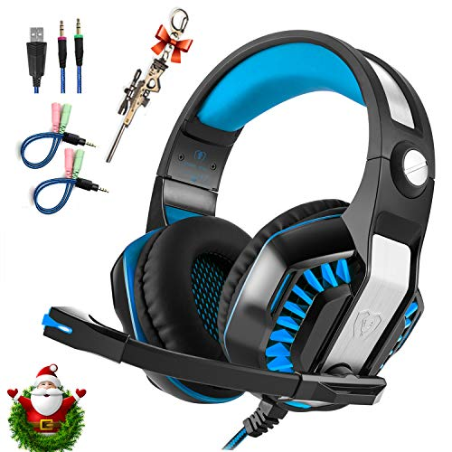 Professional PC Gaming Headset with Mic for PS4, Xbox One, Pro Over-Ear Headphones with USB LED Light, Noise Cancelling, Stereo Bass Surround, Volume Control for Laptop, Computer, Smartphones