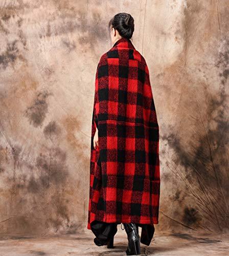 Vento Cappotto Red Inverno Del Capo Plaid Lungo A Esterno Delle Giacca Mantello Scialle Liulife Donne P7q66w