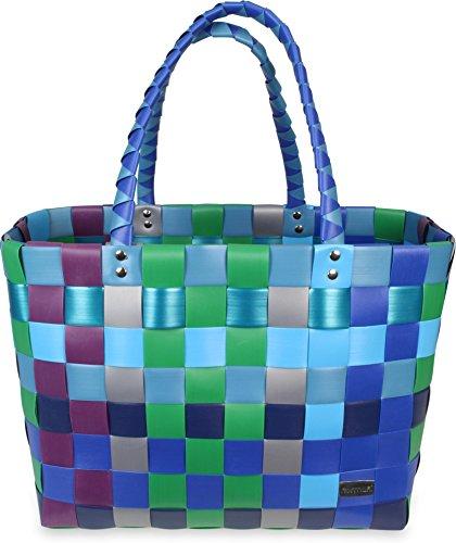 Einkaufskorb Shopper geflochten aus Kunststoff - robuster Strandkorb aus wasserabweisendem Material Farbe Sky