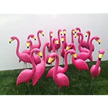 """6 XL premium Pink Yard Flamingos, 18 Pink Flamingo Twirlers and A """"You've been Flocked"""" yard sign"""