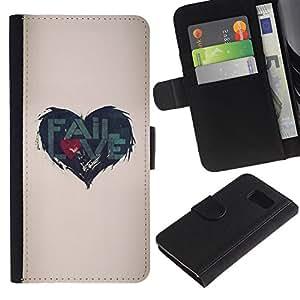 Paccase / Billetera de Cuero Caso del tirón Titular de la tarjeta Carcasa Funda para - Quote Love Heartbreak Beige - Samsung Galaxy S6 SM-G920