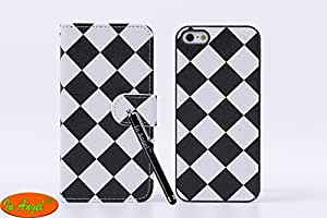 In Angel Case For Iphone 5 5s 2 In 1 Chess Lattice Dismountable Leather & Plastic Cases Leather Layer With Folio Credit Card Pockets Wallet Magnetic Button?Double Colors Classical Black & White