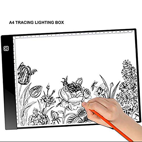 A4 - 4mm Portable LED Light Box Tracer, Adjustable Light Pad for Tracing, for DIY 5D Diamond Painting, Copy Board for Artists Drawing,Light Board for Diamond Painting X-Ray Film Reading (with Scale) ()