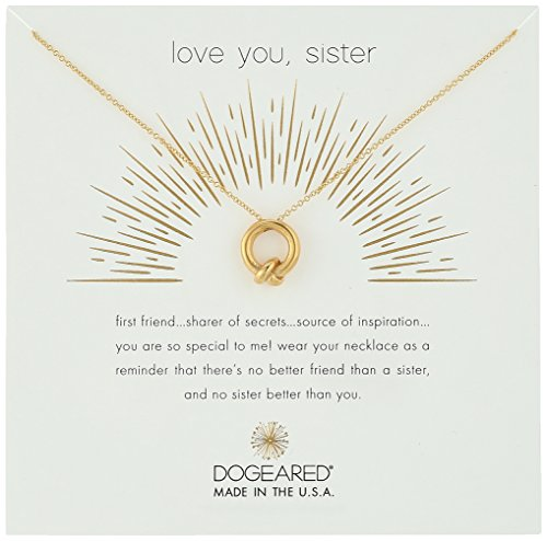 Dogeared Love You, Sister, Together Knot Charm Gold Chain Necklace, 16