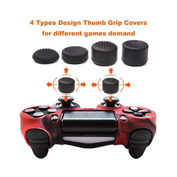Pandaren Studded Anti-Slip Silicone Cover Skin Set for PS4 /Slim/PRO Controller(CamouRed Controller Skin x 1 + FPS PRO… 2