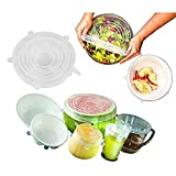 Silicone Stretch Lids-7 pack(includes EXCLUSIVE XL SIZE), BPA Free,Reusable, Durable and Expandable to Fit Various Sizes and Shapes of Containers.Silicone Food Saver Covers by Winnas (Clear)