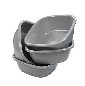 Begale 10 Quart Wash Basin, Set of 4 (gray)