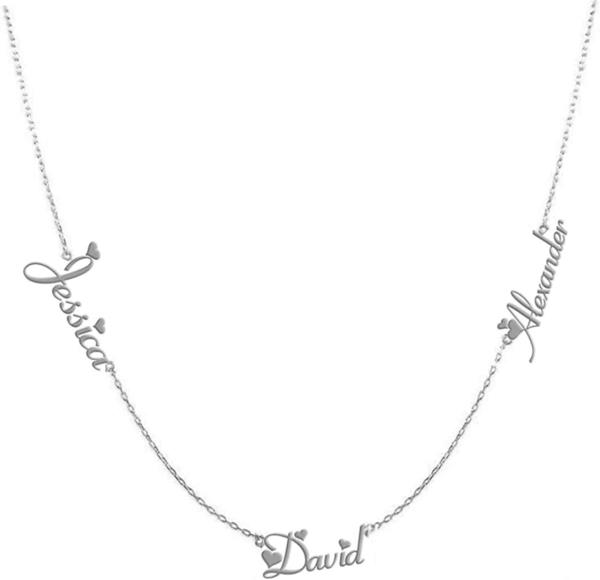 Three Name Necklace for Women Custom Family Chain Nameplate Pendant Gift