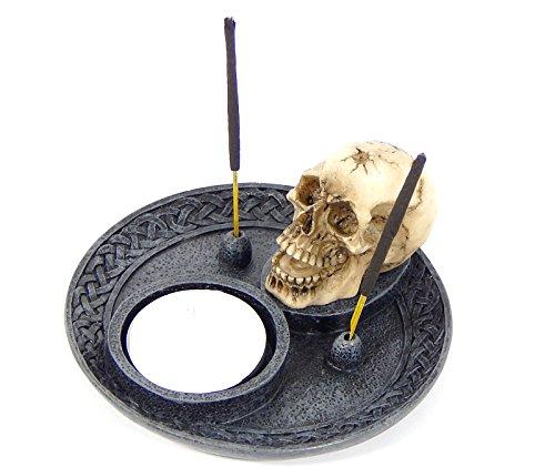 Skull Incense Burner and Votive T-light Candle Holder Meditation (Candle Holder Incense Burner)