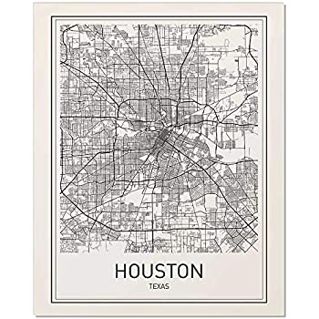 Houston Poster, Houston Map, Map of Houston, City Map Posters, Houston Map Print, Texas Map, Black and White Prints, Map Wall Art, Modern Art, Wall Posters, Scandinavian Poster, 8x10