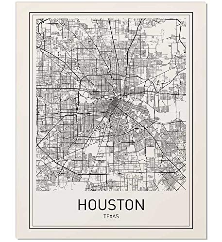 Houston Poster, Houston Map, Map of Houston, City Map Posters, Houston Map Print, Texas Map, Black and White Prints, Map Wall Art, Modern Art, Wall Posters, Scandinavian Poster, 8x10 ()
