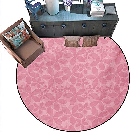 Pink White Non-Slip Round Rugs Spring Inspired Abstract Floral Vintage Design Double Exposure Effect Living Dinning Room Bedroom Rugs (71