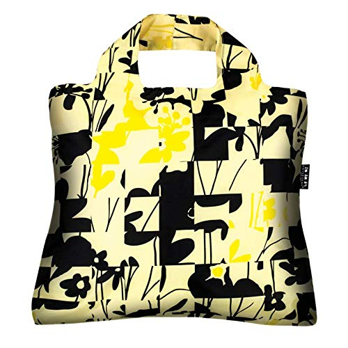 - Reusable Grocery Bags- Pack of 10 Black - Gold Envirosax Foldable Quality Shopping Tote Bag, Eco-Friendly Polyester, Waterproof/Machine Washable. Multi Use - Shopping, Travel, Arts, Crafts or Beach