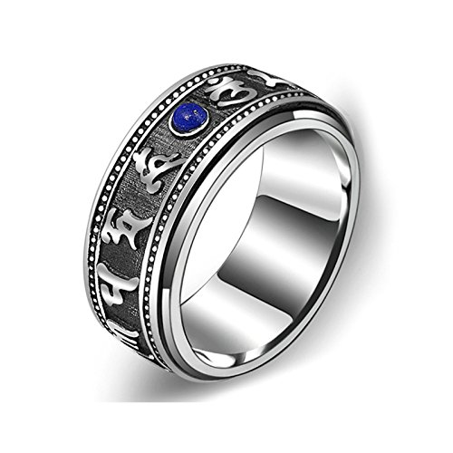 Aooaz Anniversary Rings for Men Silver Material Retro Letter With Stone Ring Us Size 10 Silver