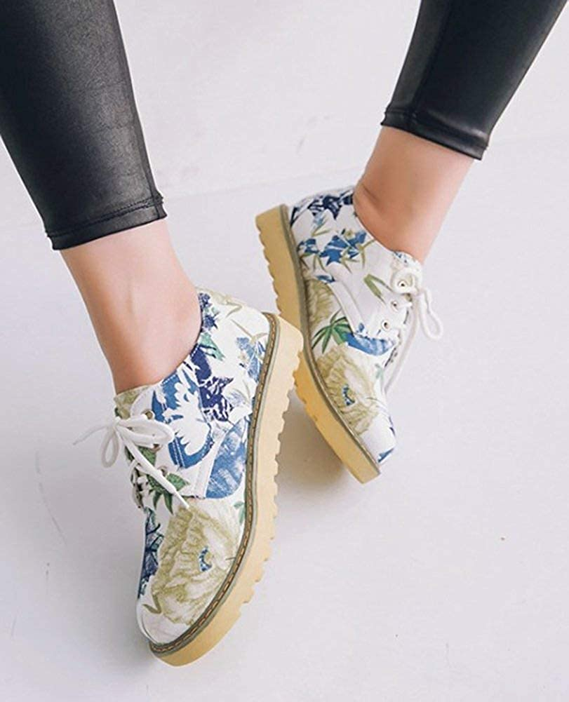 Unm Womens Comfort Floral Print Round Toe Driving Cars Lace Up Flats Shoes