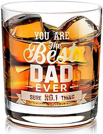 Regalos para Papá Vaso de Whisky, Regalo Vasos de Whisky de Cristal para el día del padre, Cumpleaños, Aniversario para papá, Esposo, Abuelo, el Mejor Vaso de Whisky de Todos los Tiempos, 300 ml